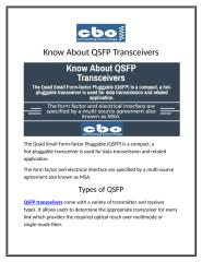 Know About QSFP Transceivers.docx