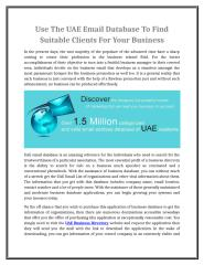 Use The UAE Email Database To Find Suitable Clients For Your Business.doc