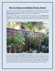 How to Choose An Outdoor Privacy Screen.pdf