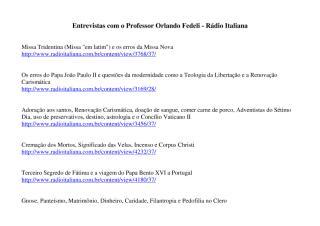 Professor Orlando Fedeli - Entrevistas - Radio italiana.pdf
