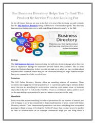Uae Business Directory Helps You To Find The Product Or Service You Are Looking For.doc