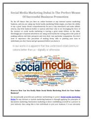 Social Media Marketing Dubai Is The Perfect Means Of Successful Business Promotion.doc