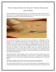 Visit A Specialist For Expert Tattoo Removal Abu Dhabi.doc